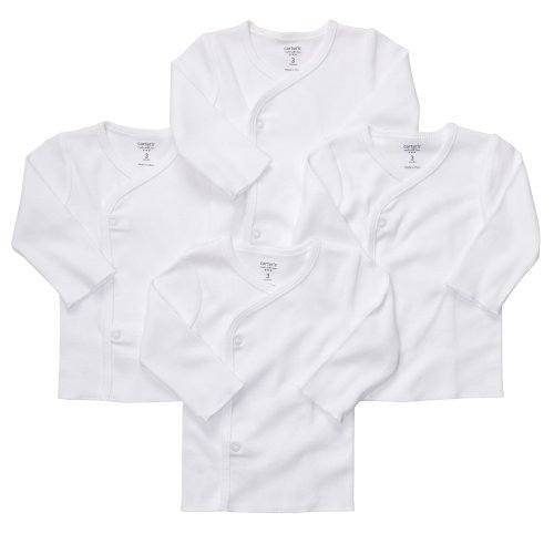 Carter's Unisex Baby 4 Pack Long Sleeve Side Snap Mitten Cuff Shirt, White, NB