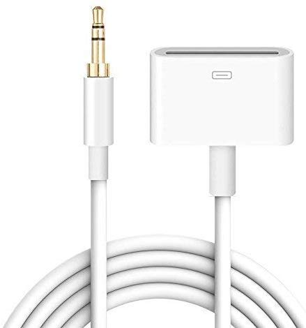 30 Pin Female Dock Docking Connection to 3.5mm Male Audio Output AUX Cable for iPhone, iPad iPod by Godeliver – 3.3 feet