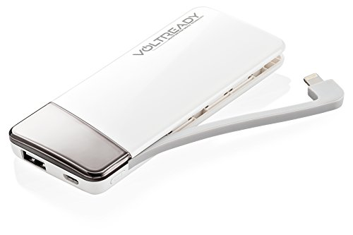 VoltReady V5 5500mAh Portable Power Bank - Built-In Lightning Charging Cable for Apple - Universal 2nd USB Output for Android, Apple, Tablets & More - White