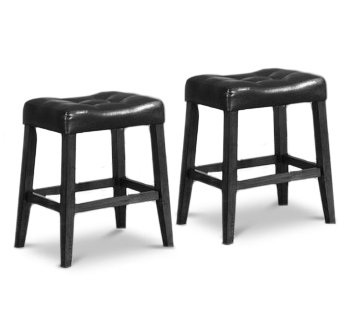 High Quality 2 24u0026quot; Saddle Back Black Kitchen Counter Wooden Bar Stools