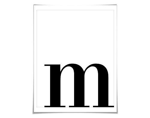 Custom Monogram Single Letter Initial Art Print. 60 Colours/5 Sizes. Letter M Alphabet Wall Art Poster