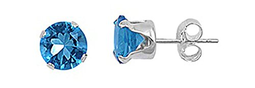 Sterling Silver Blue 2mm Round Cubic Zirconia CZ Stud ()