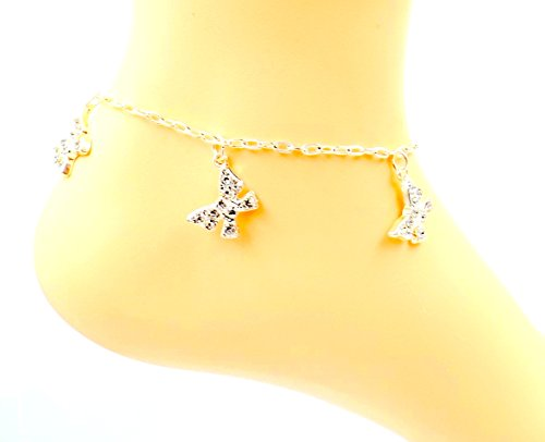 Bow Rhinestone Anklet - Silver-plate Ankle Bracelet- (Rhinestone Silverplate)
