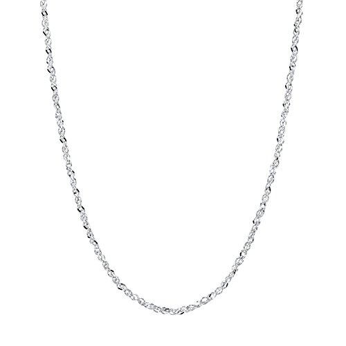14K White Gold Rope Style Chain Necklace Diamond Cut 0.9mm 18 inches