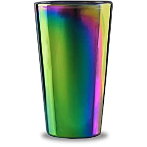Circleware Rainbow Fusion Set of 4-16.9 oz Heavy Base Highball Drinking Glasses, Beverage Glassware for Water, Beer…
