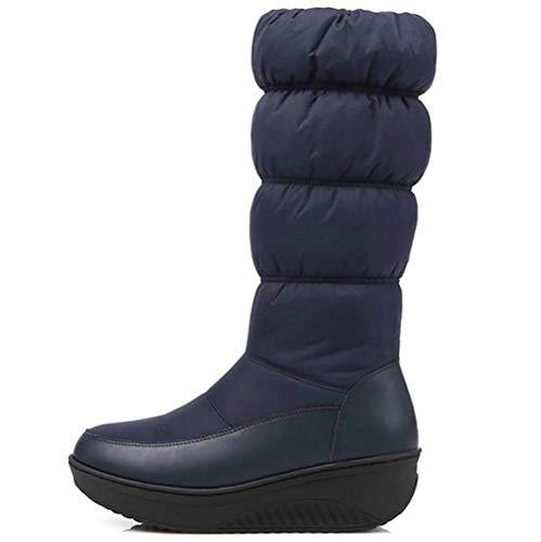 Bleu Neige Zippées De À Taille 40 Pour Bottes Oudan D'hiver Genou coloré La Femme 43 Noir Sur Compensés Au Talons Jambe Chaudes Chaussures Bleu 8F4gwX