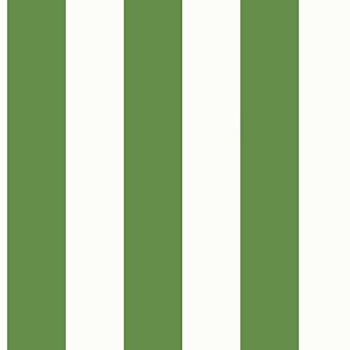 York Wallcoverings Tropics 3 Inch Stripe Removable Wallpaper, Cream, Bright Green