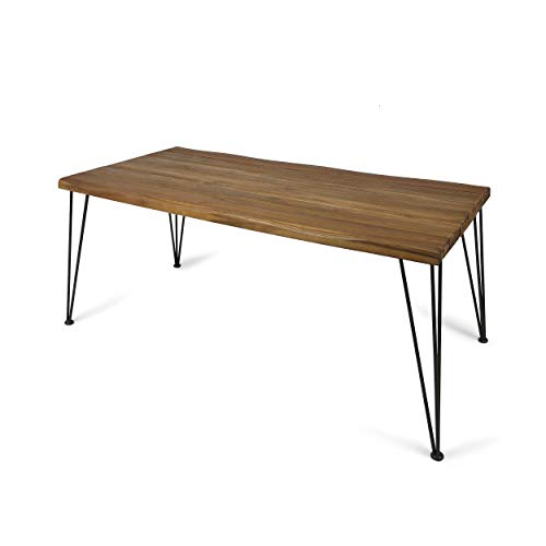 Christopher Knight Home Kama Patio Dining, Rectangular, 72″, Acacia Wood Table Top, Rustic Iron Hairpin Legs, Teak Finish, Metal