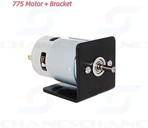 CHANCS Motor eléctrico 775 DC 12V/24V con soporte de montaje de asiento cepillo pequeño motor DC
