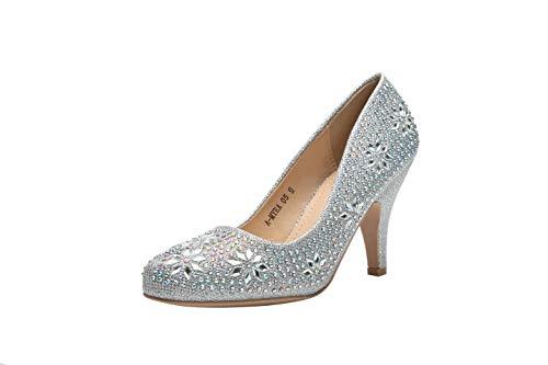 Ashley A (AA-MAYRA05 Princess Sparkle Crystal Gem Rhinestone Glitter Formal Pumps, Wedding Shoes Evening Dress Heels for Women Silver 8.0
