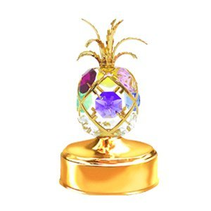 (24K Gold Plated Pineapple Music Box. With Mixed Colors of Austrian)