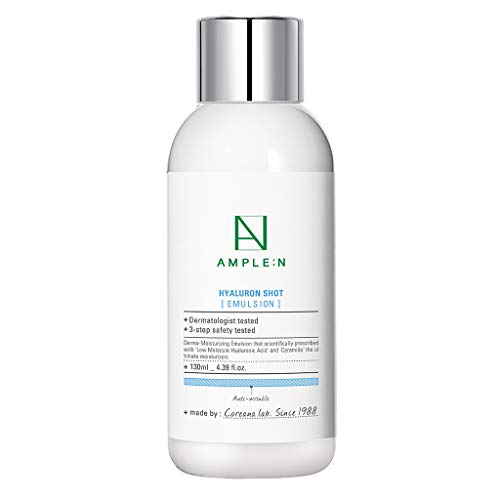 [AMPLE:N] Hyaluron Shot Emulsion 4.39 fl. oz. (130ml) - Hyaluronic Acid & Xylitol Complex Contained, Hydrating Facial Lotion for Sensitive and Dry Skin, Strengthen Skin Barrier