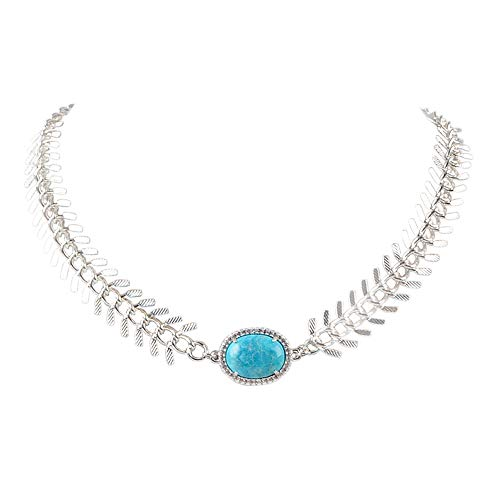 ZENGORI 1Pcs Silver Plated Oval Natural Turquoise Charm Necklace for Women Handmade - Charm Oval Turquoise