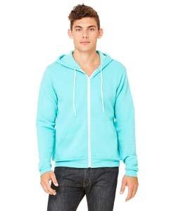 - Bella 3739 Unisex Poly-Cotton Fleece Full-Zip Hoodie - Teal, Extra Small