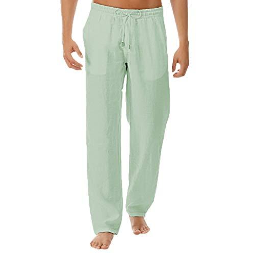 (Mens Linen Cotton Loose Casual Lightweight Elastic Waist Straight Pants Green)
