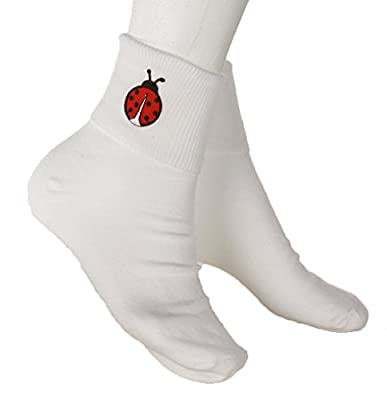 Ladybug Socks - White Bobby Sox with Embroidered Appliques - Sz 9-11 - Hey Viv !
