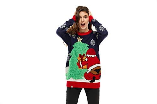 Mens Ugly Christmas Sweater Xmas Santa & Christmas Tree Pullover Sweaters Sweatshirt for Women - Medium (Sweaters Cheeky Christmas)