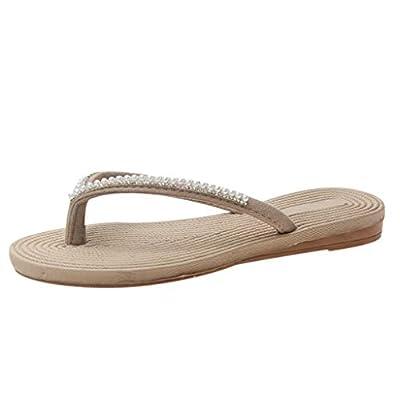 RAINED-Women's Flip Flops Summer Boho Flats Sandals Ethnic Thong Sandals Beach Walking String Bead Clip-Toe Slippers