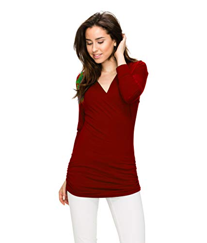 Womens 3/4 Sleeve Wrap Front Drape Top L Wine by Lock and Love (Image #2)