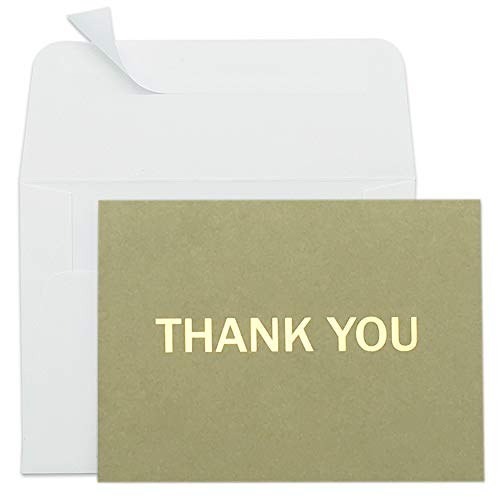 Thank You Cards - 50 Pack Thank You Card Bulk, Blank Thank You Notes with Self-Seal Envelopes - Gold Foil Letterpress Design - Perfect for Business, Masculine, Funeral, Graduation, Sympathy and More ()