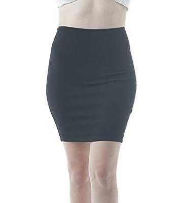 Khanomak Plain Stretch Fitted Body Con Mini Skirt with Back Zipper