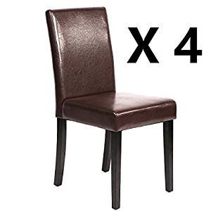 Set of 4 Urban Style Leather Dining Chairs With Solid Wood Legs Chair (Dark Brown Dining Set)