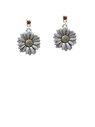 Earrings Tone Brown Two (Large Two-tone Daisy Flower Brown Crystal Post Earrings)
