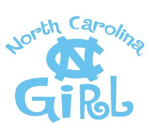 UNC Tar Heels NORTH CAROLINA GIRL Clear Vinyl Decal Car Truck Sticker North Carolina WC