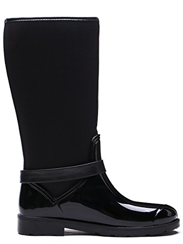 TONGPU Womens Outdoor Waterproof Boots Fashion Garden Rain Shoes Black hBpgifRR4b
