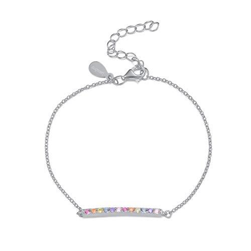 Rainbow CZ Bracelet - Multi Color Cubic Zirconia Bar Adjustable Bracelet - 925 Sterling Silver ()