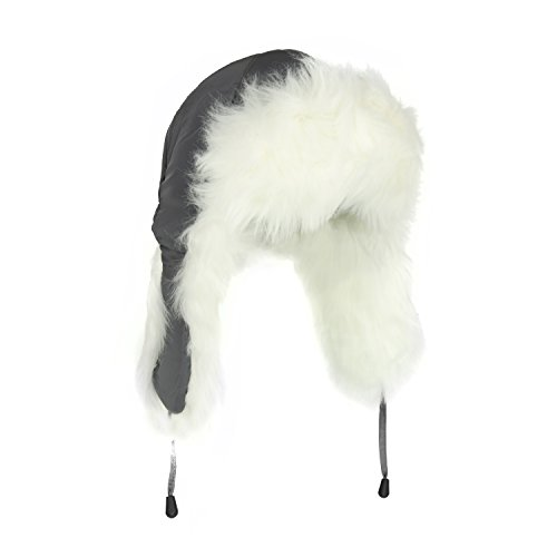 Adorable White Fur Trooper Hat, Warm Grey Peruvian Cap for Women w/ Tie by FLH