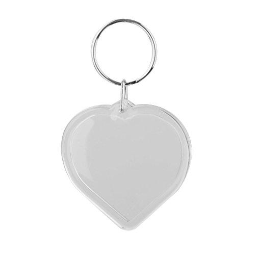 Acrylic 10 Pcs Photo Keychains Clear Blank Insert Picture Photo Frame Keyring Keychain(heart shape)