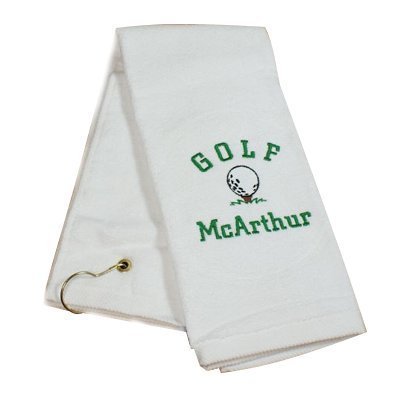GiftsForYouNow Personalized White Golf Ball Towel with Embroidered Message or Name and Included Grommet and Hook