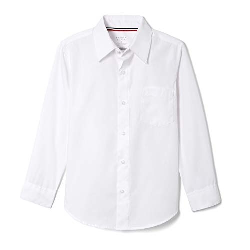 French Toast Big Boys' Long Sleeve Poplin Dress Shirt, White, 8