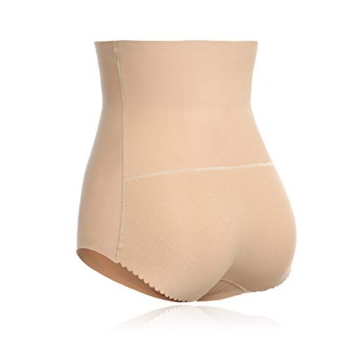Joyshaper Womens Seamless Butt Lifter Shapewear with Tummy Control Padded Panties Hip Enhancer Underwear (Nude, L)