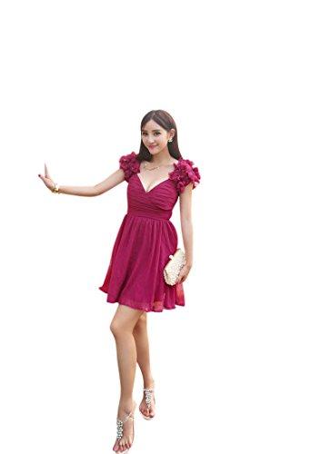MissFox Women's Flower Decoration V Neck Sleeless Beach Dress Size M Rose