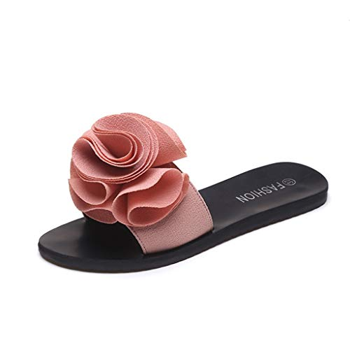 Women's Sandals Slip-on Flat With Slippers Open Toe Heels Sneakers Pure Color Flower Shoes Lace-up Sports ()