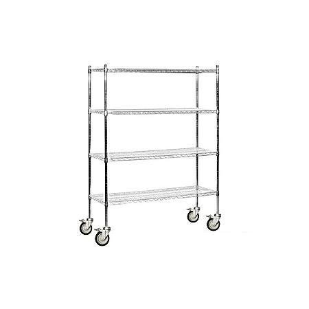 Salsbury Industries Mobile Wire Shelving Unit, 60-Inch Wide by 80-Inch High by 18-Inch Deep, Chrome by Salsbury Industries