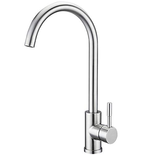 Lever Single Hole Bar Faucet - 360 Degree Stainless Steel Swivel Good Valued Kitchen Sink Faucet Modern Hot& Cold Mixer Handle Lever Brushed Nickel Kitchen Sink Faucet Brushed Nickel Bar Faucets