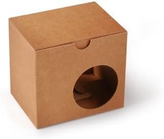 Selfpackaging Caja para Tazas con Agujero para Que se vea la Taza Que estás comprando. Microcanal en Color Kraft Muy Resistente. - S: Amazon.es: Hogar