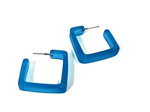 Aqua Blue Square Hoop Earrings | Matte Square Hoops | vintage lucite hoop earrings ()