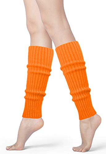 Womens 80s Neon Ribbed Knit Crochet Dance Yoga Leg Warmers Long Socks (Orange(1 pair)) -