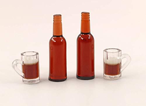 nanguawu 2pcs Ale Beer Drink Bottles /w 2 Cups 1:12 Liquor Miniature Dollhouse