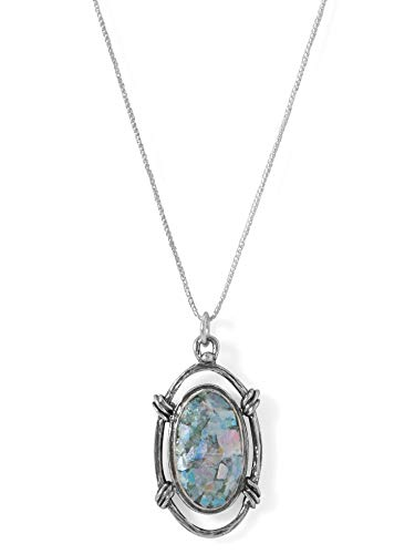 (Roman Glass Necklace Oval Design Sterling Silver)