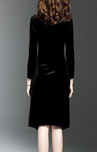 Slim Bodycon Slit Gold Dress Long Fit Sleeve Coolred Black Side Women Velvet A7Zww5qU