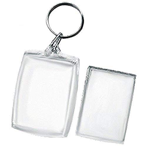 King&Pig 24pcs Key Chains Key Rings with Transparent Clear  rectangle Picture Photo Frames can open Keychains