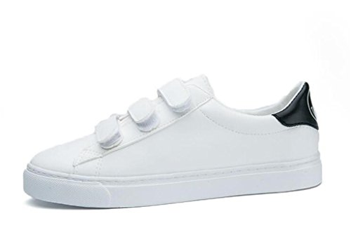 SHFANG Lady Shoes Simple Magic Pegatinas Flat Bottom Pu Calzado Casual Cómodo Movimiento Smiling Students Daily Black