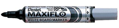 Pentel Maxiflo MWL5M Drywipe Marker, Black, Box of 12 (Whiteboard Pentel)