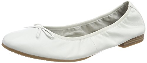 Tamaris Damen 22116 Geschlossene Ballerinas Weiß (White Leather)