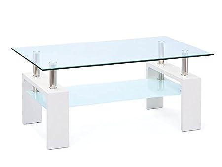 Inter Link 50100040 Couchtisch Glas Weiss Wohnzimmertisch Wohnzimmer